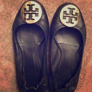 Tory Burch Black Leather REVA Flats Size 6.5